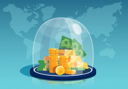 Illustration for Vector of dollar banknotes and gold coins under a glass dome on a world map background - Royalty Free Image