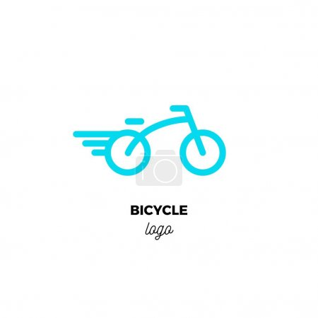 Rounded line art vector logo of stylized blue bicycle.