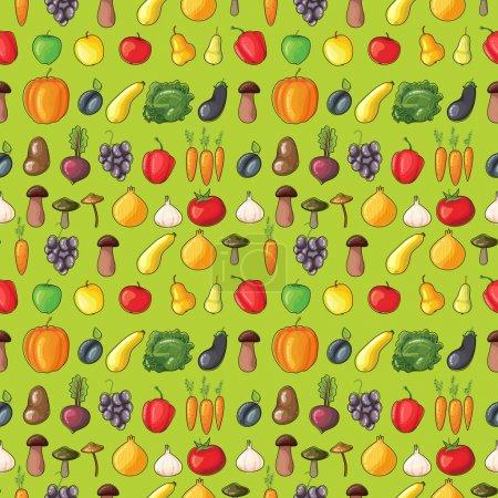 Illustration pour Fruits et légumes motif vectoriel plat sur fond vert. Alimentation écologique - image libre de droit