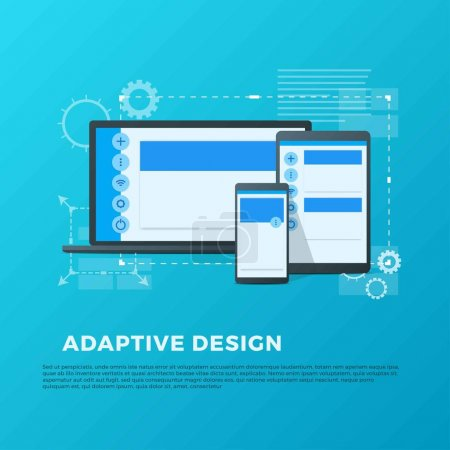 Vector concept of adaptive design for different devices: laptop, smartpad, phone