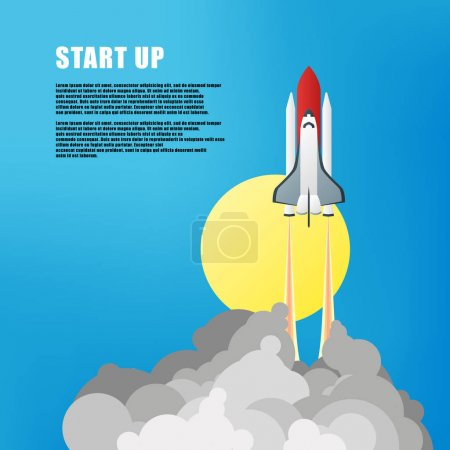 Vector illustration. Flat concept background with rocket. Project start up. Business aims and smart solutions. Teamwork.