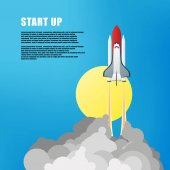 Vector illustration Flat concept background with rocket Project start up Business aims and smart solutions Teamwork