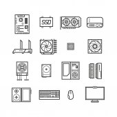 Computer hardware PC parts and components vector thin line icons set