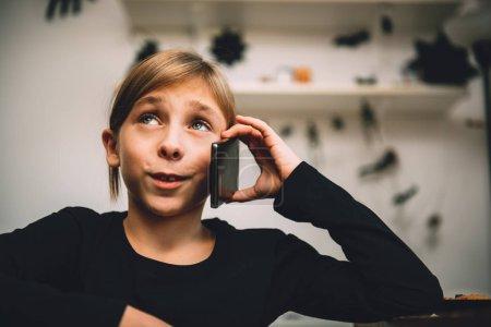 Little girl having phone call