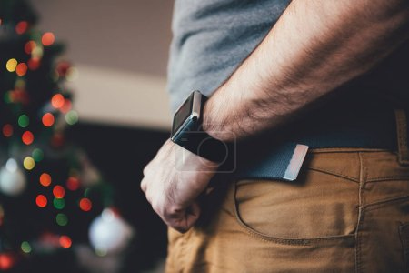 Man wearing smart watch