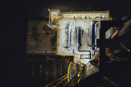Aerial view of natural gas processing factory at night