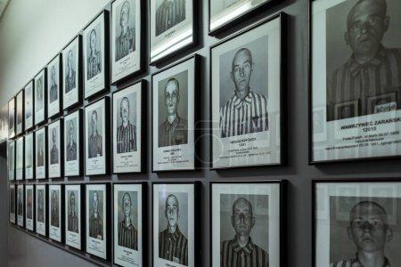 Photo pour Juifs, gitans, polonais, russes et autres prisonniers Portraits dans le musée nazi du camp de concentration - image libre de droit