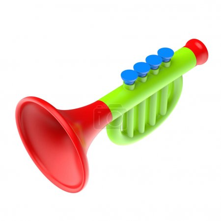 Toy trumpet isolated on a white background. 3d illustration.