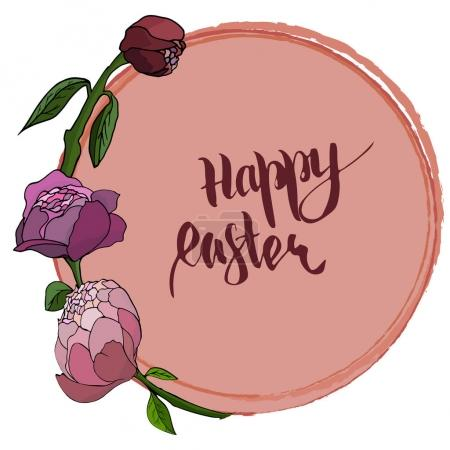 Happy Easter card with peony, Illustration of Easter background