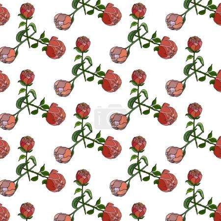 Seamless floral pattern with  peonies. Vector illustration.