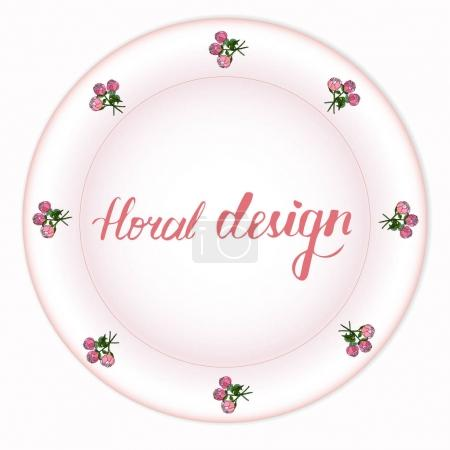Beautiful bouquet of peonies on a rose plate. Vector illustration