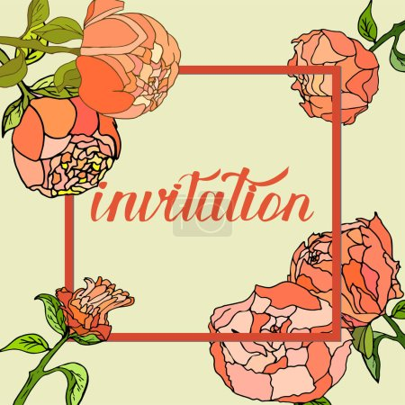 Invitation card with floral design elements