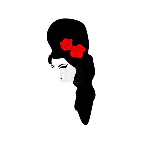 Illustration pour Amy Winehouse - version minimaliste, portrait vectoriel du chanteur de jazz. Silhouette aux cheveux noirs et rose rouge . - image libre de droit