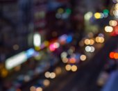 Abstract night lights from a busy New York City street blurred