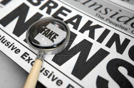 Photo pour Un concept de fausses nouvelles montrant un journal imprimé avec une loupe mettant en évidence un message sous-jacent sur le titre de la première page - rendu 3D - image libre de droit