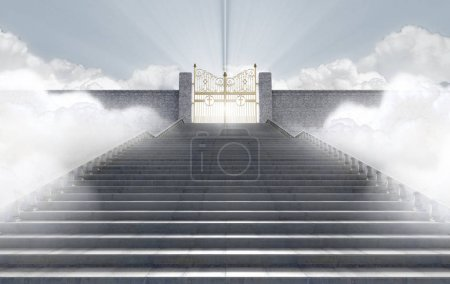 Photo for A concept depicting the majestic pearly gates of heaven surrounded by clouds and the staircase leading up to them - 3D render - Royalty Free Image