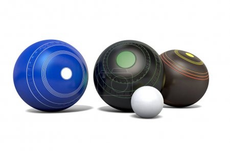 Photo for Three different designs of lawn bowling balls surrounding a white jack on an isolated white studio background - 3D render - Royalty Free Image