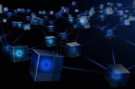 Photo for A concept showing a network of interconnected blocks of data depicting a cryptocurrency blockchain data on a dark background - 3D render - Royalty Free Image