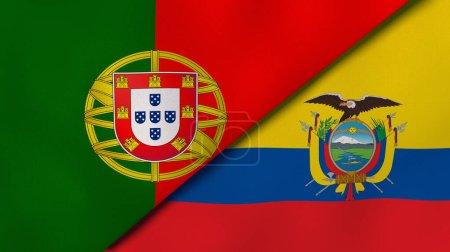 Photo pour Deux États drapeaux du Portugal et de l'Équateur. Une expérience professionnelle de haute qualité. Illustration 3d - image libre de droit