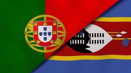 Photo pour Deux États drapeaux du Portugal et Eswatini. Une expérience professionnelle de haute qualité. Illustration 3d - image libre de droit