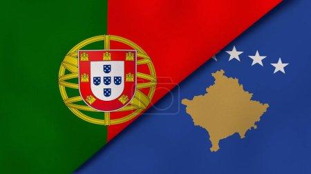 Photo pour Deux États drapeaux du Portugal et du Kosovo. Une expérience professionnelle de haute qualité. Illustration 3d - image libre de droit