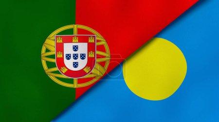 Photo pour Deux États drapeaux du Portugal et des Palaos. Une expérience professionnelle de haute qualité. Illustration 3d - image libre de droit