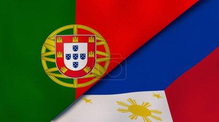 Photo pour Deux États drapeaux du Portugal et des Philippines. Une expérience professionnelle de haute qualité. Illustration 3d - image libre de droit