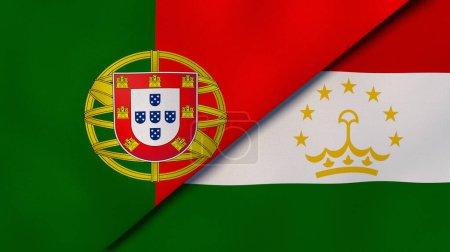 Photo pour Deux États drapeaux du Portugal et du Tadjikistan. Une expérience professionnelle de haute qualité. Illustration 3d - image libre de droit