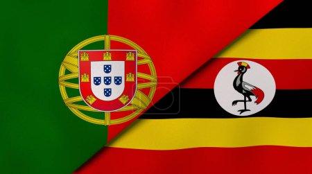 Photo pour Deux États drapeaux du Portugal et de l'Ouganda. Une expérience professionnelle de haute qualité. Illustration 3d - image libre de droit