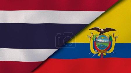 Photo pour Deux États drapeaux de la Thaïlande et de l'Équateur. Une expérience professionnelle de haute qualité. Illustration 3d - image libre de droit