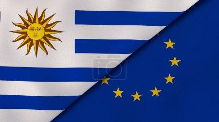 Photo pour Deux États drapeaux de l'Uruguay et de l'Union européenne. Une expérience professionnelle de haute qualité. Illustration 3d - image libre de droit