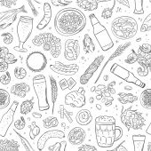 Seamless hand drawn pattern with Beer attributes
