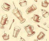 Seamless background coffee and tea