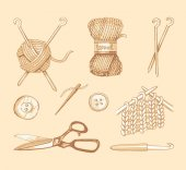 Tools and materials for knitting Vector sketch
