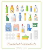 Flat icons household chemicals and paper products