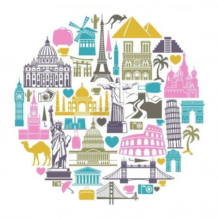 Photo pour Icône monuments architecturaux du monde en forme de cercle - image libre de droit