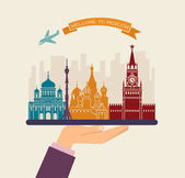 Welcome to Moscow Attractions of Moscow on a tray