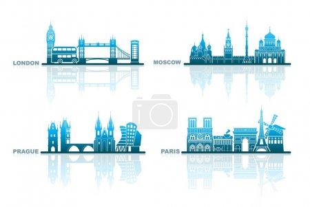 Photo pour Paysages urbains abstraits de Londres, Paris, Prague et Moscou - image libre de droit