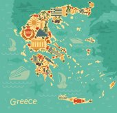 Symbols of Greece in the form of map