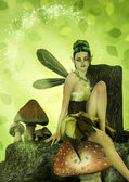 Fantasy portrait of a fairy sitting in a mushroom.