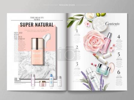 Illustration pour Modèle de magazine cosmétique, vue du dessus du récipient et texture crème isolé sur marbre et fond géométrique, produits énumérés sur le côté droit, illustration 3D - image libre de droit