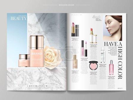Illustration pour Modèle de magazine cosmétique, fondations placées sur le mur de marbre, produits énumérés sur le côté droit, illustration 3D - image libre de droit
