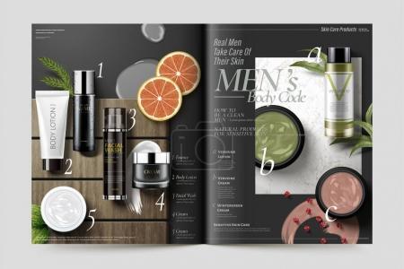Illustration pour Modèle de magazine cosmétique, produits d'herbes fraîches sur pierre de marbre et texture de plaque de bois, illustration 3D - image libre de droit