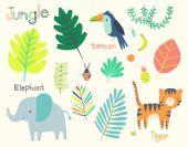 Cute Jungle Animals Clip Art Set