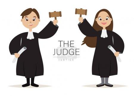 Illustration pour Le juge Cartoon Caractère design avec tenir le marteau pour le juge et la justice, vecteur, illustration . - image libre de droit