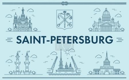 Illustration pour Saint-Pétersbourg, Russie. Illustration vectorielle des sites de la ville - image libre de droit