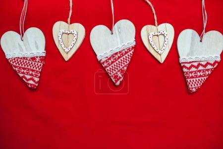 red background, Background for text, new year, Christmas image, Beautiful hearts. The best photo