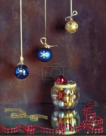 background with multicolored Christmas balls.