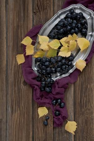 Grapes with yellow leaves