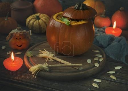 close-up of Baked pumpkin.